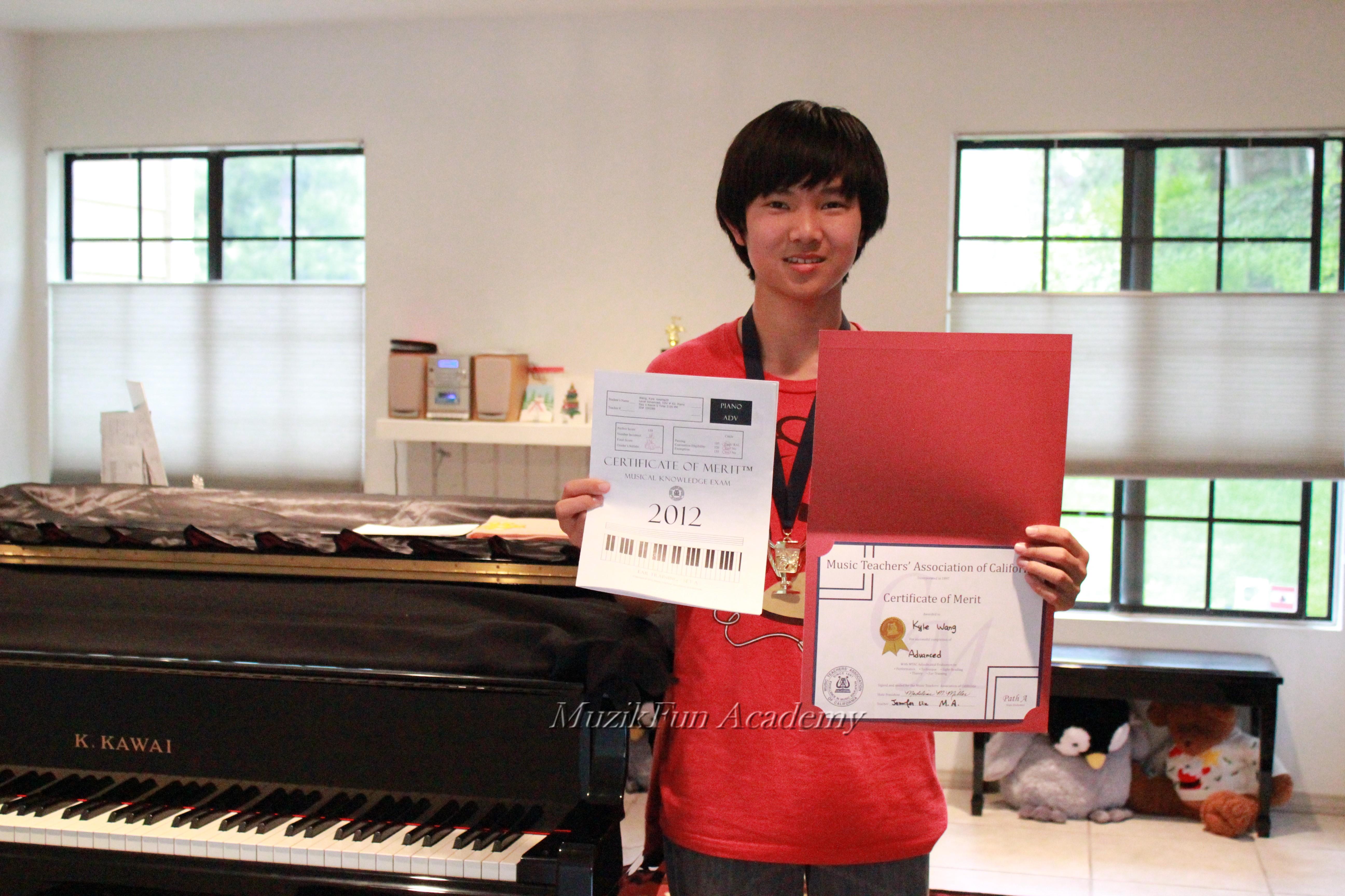 Certificate of merit cm muzikfun education kyle wang xflitez Images