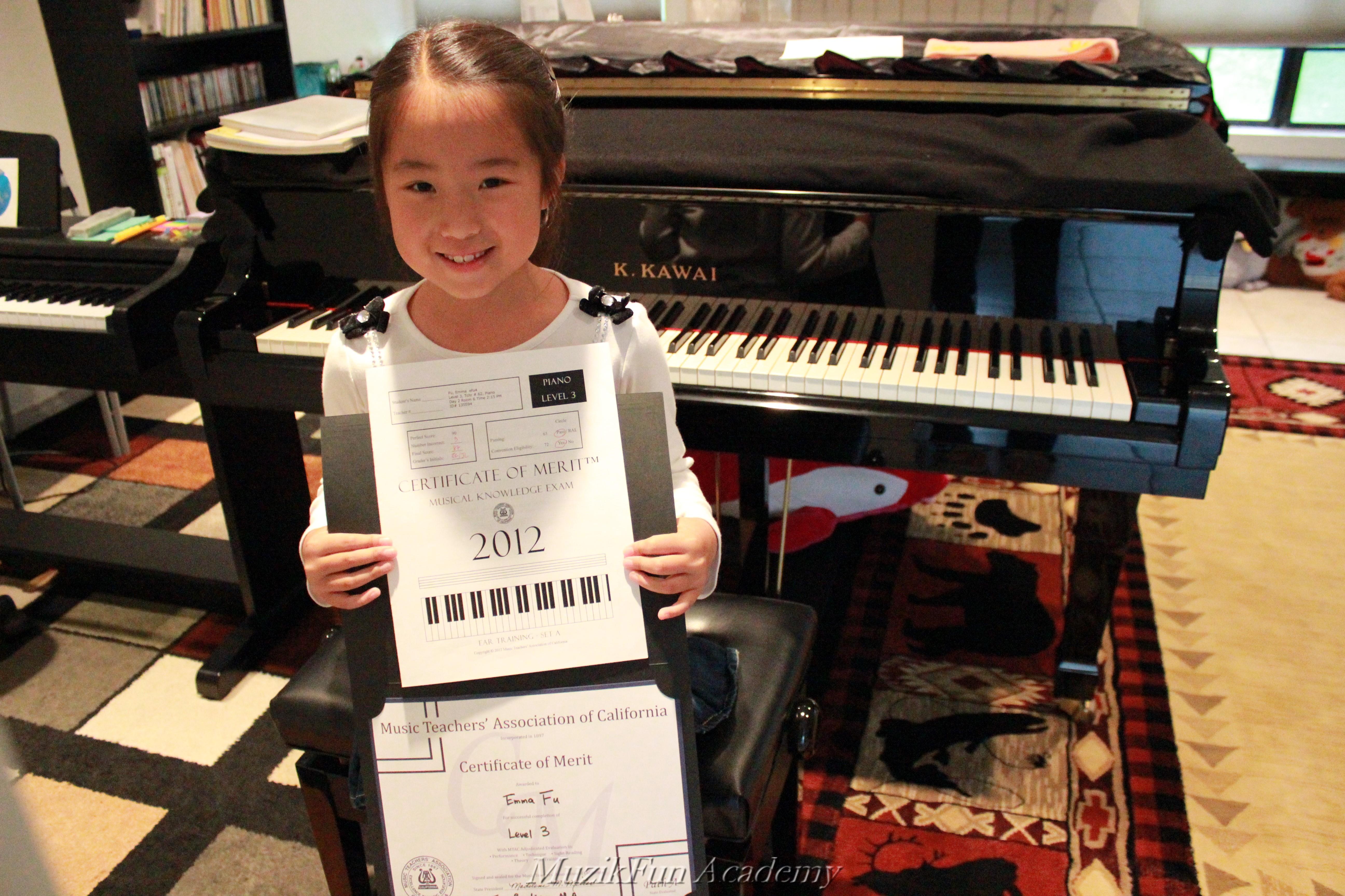 Certificate of merit cm muzikfun education emma fu 2nd grade cm level 3 with convention eligibility xflitez Images