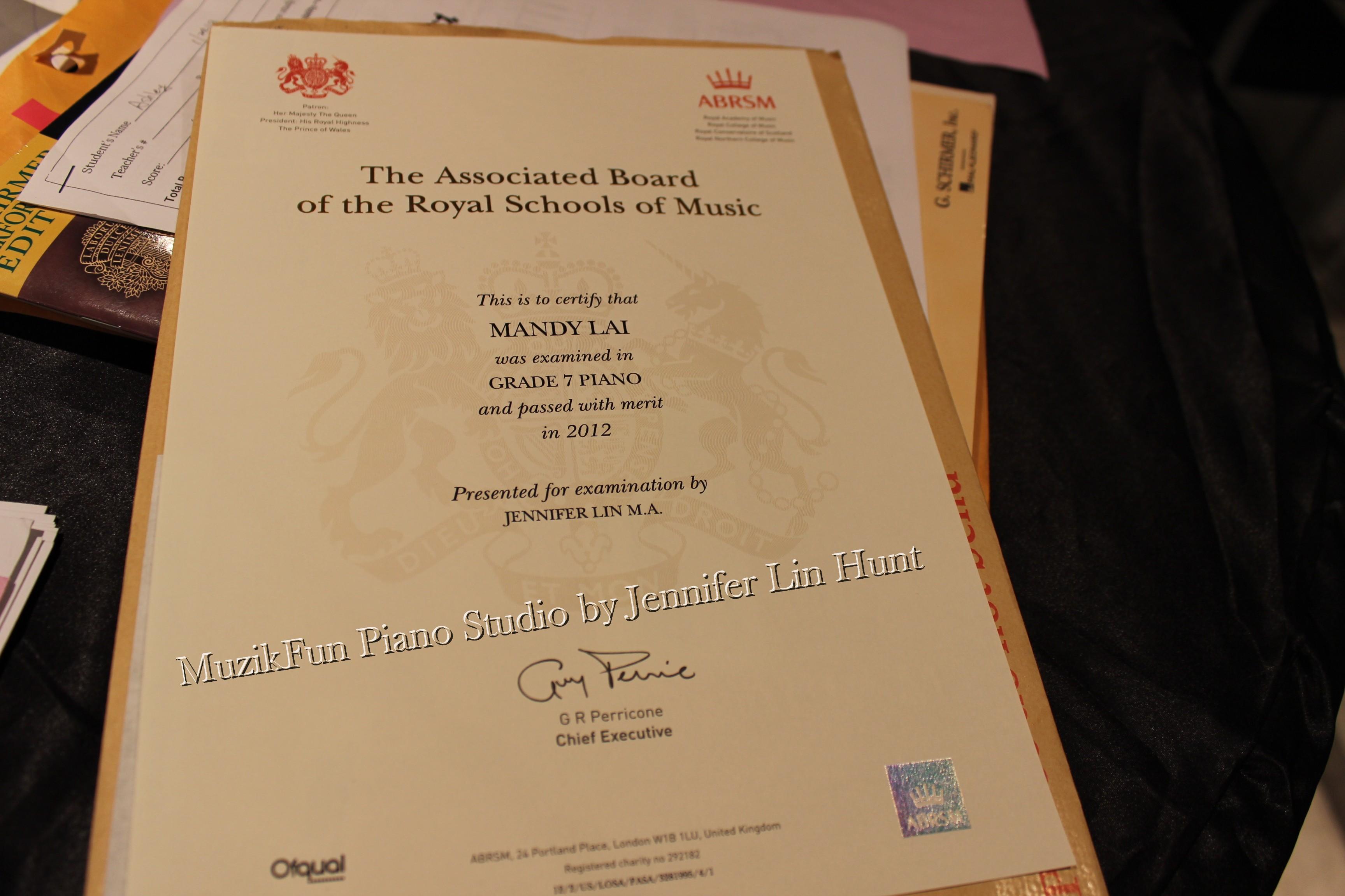 Abrsm royal exam practical grade 7 exam report 2013 mandys practical grade 7 certificate xflitez Images